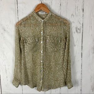 Equipment Animal Print Sheer Silk Blouse XS